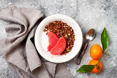 Healthy winter breakfast. Greek yogurt bowl with chocolate gingerbread granola and grapefruit. Top view, flat lay, overhead. royalty free stock photos