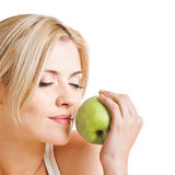 Healthy woman with apple Royalty Free Stock Photo