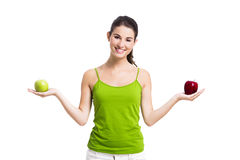 Healthy woman with apples Royalty Free Stock Image