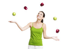 Healthy woman with apples Stock Photos