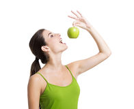 Healthy woman with apples Stock Photo
