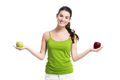 Healthy woman with apples Royalty Free Stock Photo