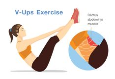 Healthy woman challenging the rectus abdominis muscle with V-Ups workout. Illustration about target of exercise Royalty Free Stock Photography