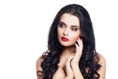 Healthy Woman with Clear Skin and Curly Hair Isolated on White Royalty Free Stock Photo