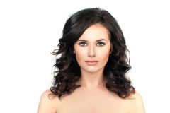 Healthy Woman with Clear Skin and Curly Hair. Skincare Concept Stock Image