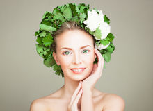 Healthy Woman with Clear Skin and Flowers Wreath Royalty Free Stock Photography