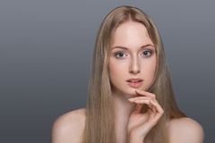 Healthy Woman with Clear Skin and Hair Isolated. Beauty spa young woman with perffect skin Royalty Free Stock Image