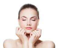 Healthy Woman with Clear Skin. Spa Face. Healthy Woman with Clear Skin. Skincare Concept Royalty Free Stock Photo