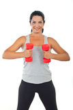 Healthy woman doing fitness with barbell Royalty Free Stock Photo