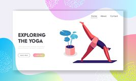 Healthy Woman Doing Yoga Asana or Aerobics Exercise Standing on Hands with Legs Up, Sport Life Activity, Healthy Lifestyle. Website Landing Page, Web Page vector illustration