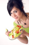 Healthy Happy Woman Eating Fresh Green Salad Royalty Free Stock Photography