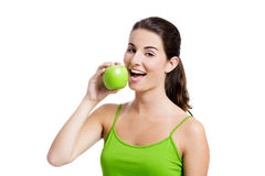 Healthy woman eating an apple Royalty Free Stock Photos