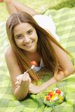Healthy woman eating salad Stock Image