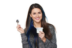 Healthy woman eating yoghurt Stock Image