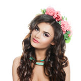 Healthy Woman Fashion Model in Flowers Wreath on White. Healthy Woman Fashion Model in Flowers Wreath Stock Image