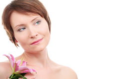 Healthy woman with flower Stock Photo