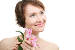 Healthy woman with flower Stock Photos