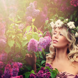Healthy Woman in Flowers Wreath Outdoors Royalty Free Stock Photography