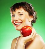 Healthy woman with fresh red apple Stock Photography
