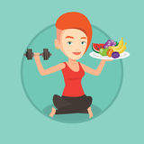 Healthy woman with fruits and dumbbell. Royalty Free Stock Photos