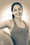 Healthy woman - girl smiling and holding fitness ball, vintage Stock Photos