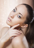 Healthy woman with golden make-up - spa concept Royalty Free Stock Photos