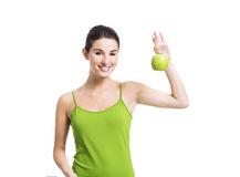 Healthy woman with a green apple Stock Image