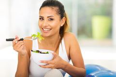 Healthy woman green salad Stock Image