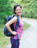 happy woman hiking Royalty Free Stock Image