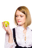 healthy woman holding apple Stock Photo