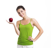 Healthy woman holding an apple Stock Image