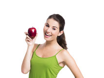 Healthy woman holding an apple Stock Photography