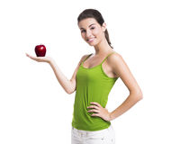 Healthy woman holding an apple Royalty Free Stock Image