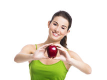 Healthy woman holding an apple Stock Photo