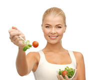 Healthy woman holding bowl with salad Royalty Free Stock Photo