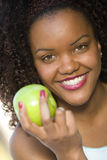 Healthy Woman Holding Green Apple Stock Image