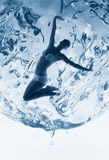 Healthy woman inside of water sphere Royalty Free Stock Images