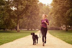 Healthy Woman Jogging in the Park with her Dog. Full length Shot of a Healthy Young Woman Jogging in the Park with her Black Pet Dog Royalty Free Stock Images
