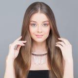 Healthy Woman. Long Shiny Hair, Natural Makeup Stock Image