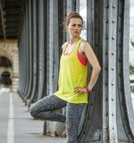 Healthy woman looking into distance on Pont de Bir-Hakeim bridge Royalty Free Stock Images