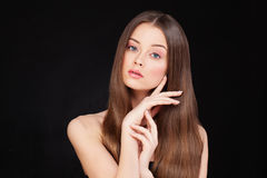 Healthy Woman Model with Long Shiny Hair and Perfect Skin. Healthy Woman Model with Long Shiny Hairstyle and Perfect Skin Stock Images