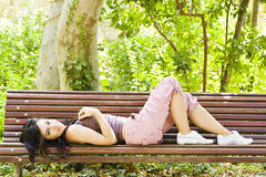 Healthy woman in the park Stock Image