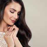 Healthy Woman with Perfect Hairstyle and Natural Makeup Stock Photography