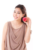 Healthy woman with red apple Stock Photo