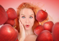 Healthy Woman with Red Apples on White Stock Photography