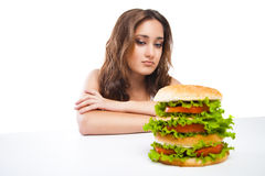 Healthy woman rejecting junk food isolated Stock Photography