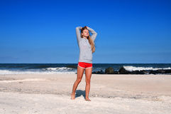 Healthy woman running on the beach, doing sport outdoor, freedom, vacation stock photos