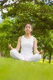Healthy woman sitting in lotus pose at park Royalty Free Stock Photography