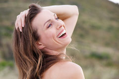 Healthy woman smiling outside Stock Images