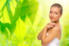 Healthy woman on spring background Stock Image
